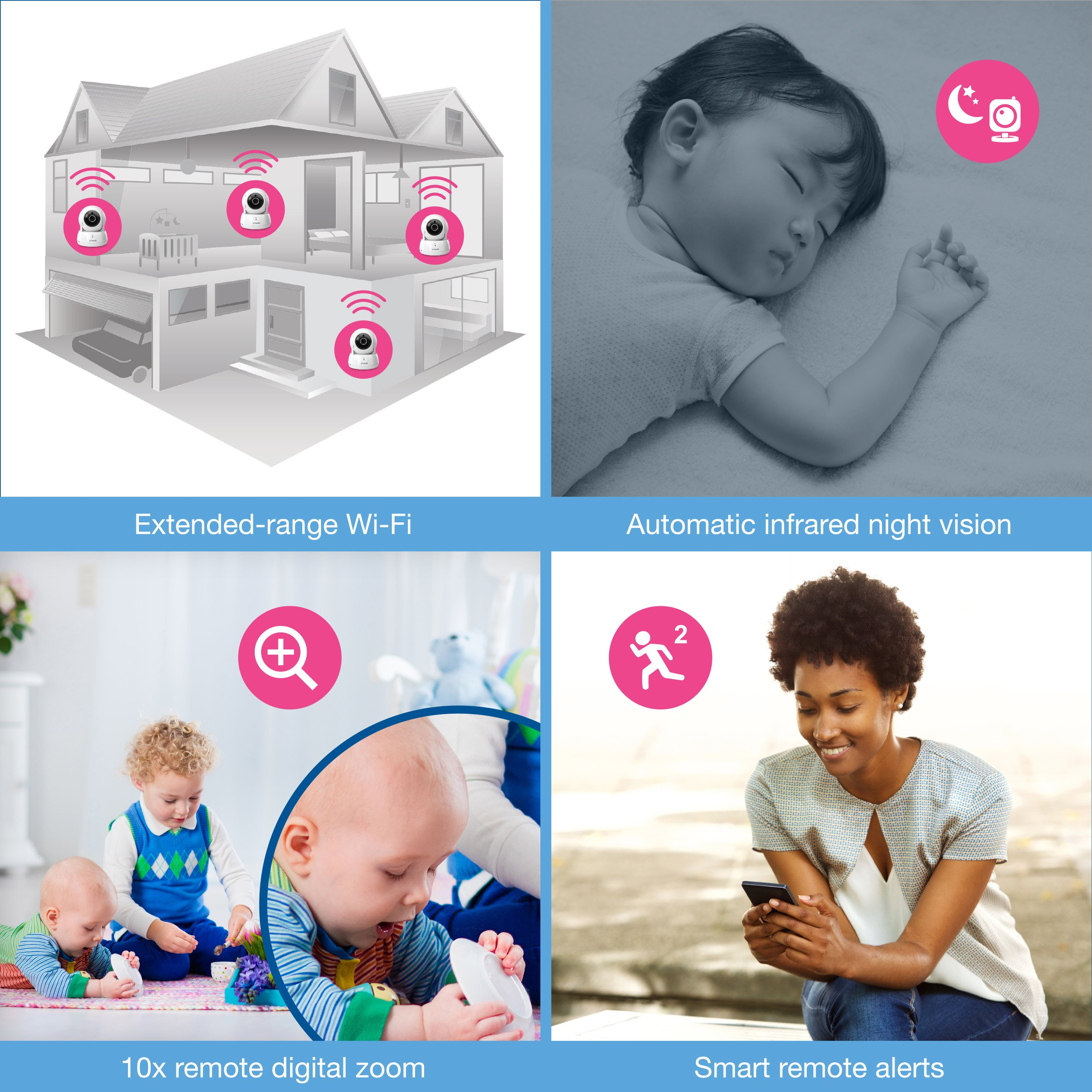 VTech VM991 Wireless WiFi Video Baby Monitor with Remote Access App, 5-inch Touch Screen, Remote Access Pan, Tilt & Zoom, Motion Alerts & Support for up to 10 Cameras by VTech (Image #4)