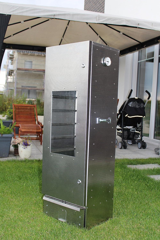 Der neue Maßstab: Original Smoki Räucherofen aus geprägtem Stahl mit Sichtfenster: 85cm hoch