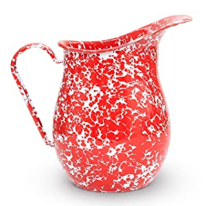 Enamelware Pitcher, 3 quart, Red/White Splatter