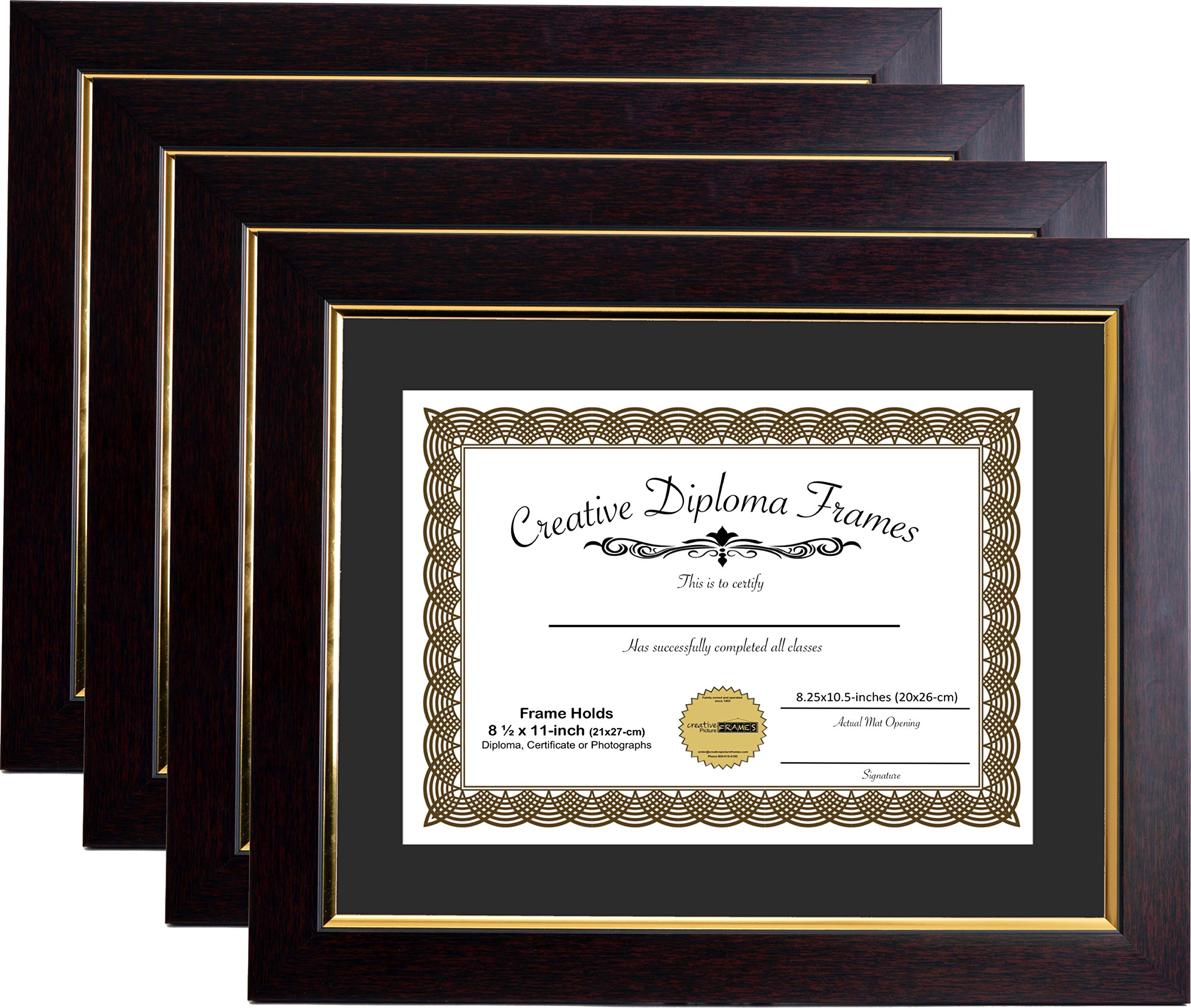 CreativePF [mhg024] 11x14-inch Matted Eco Mahogany Diploma Frame Gold Lip with Black/White Core Mat Holds 8.5x11-inch Media, with Installed Hangers (4-Pack)