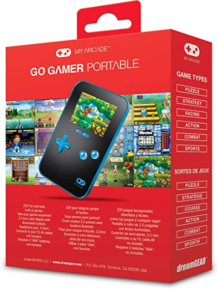 """Amazon.com: My Arcade GoGamer Portable Gaming System with 220 HiRes 16 bit Retro Style Games & 2.5"""" LCD Screen– Blue/Black: electronic games: Video Games"""