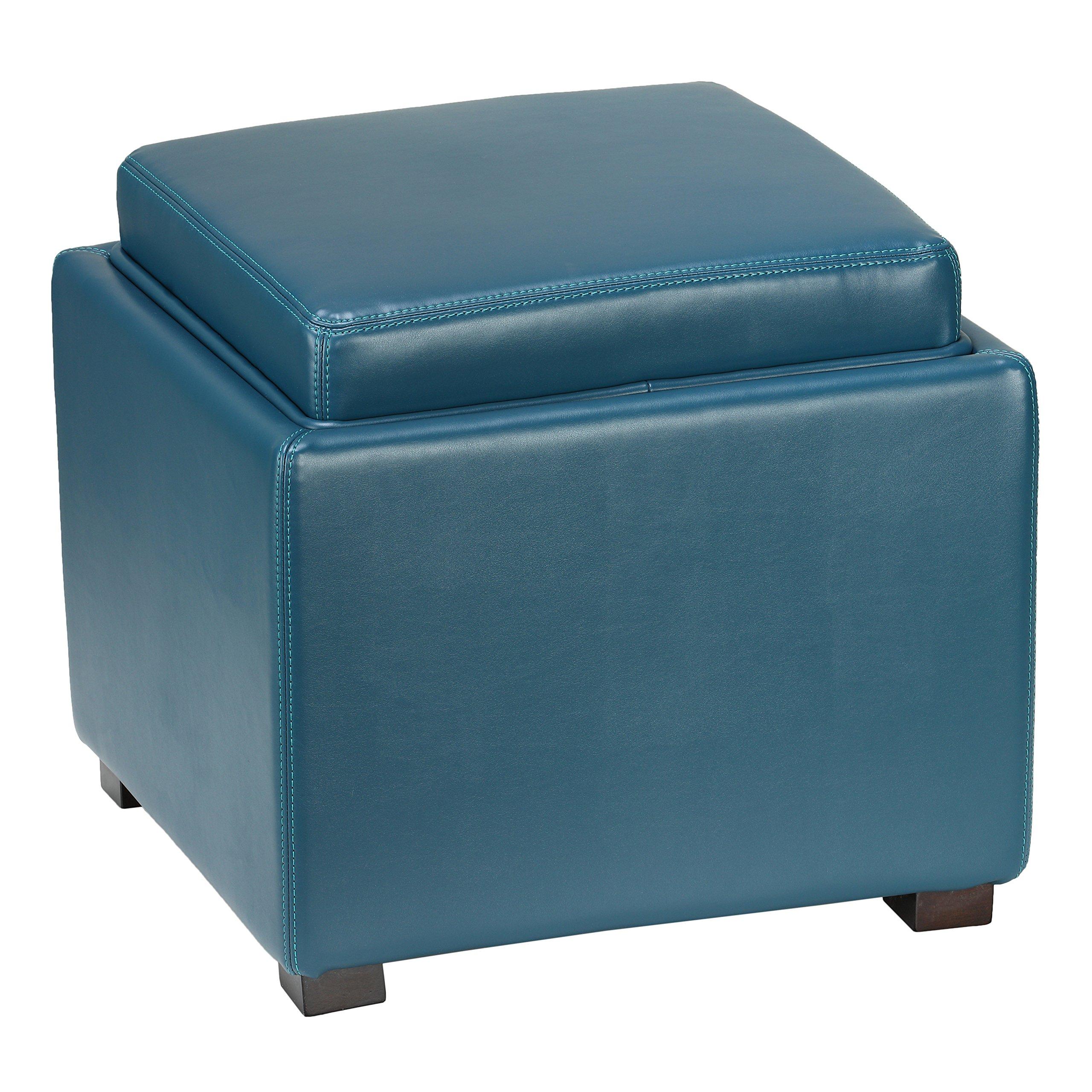 Cortesi Home Mavi Storage Tray Ottoman in Bonded Leather, Deep Turquoise Blue