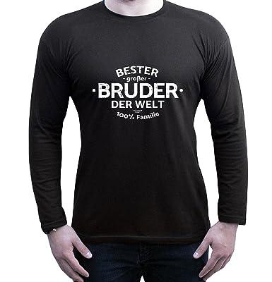 Bester großer Bruder der Welt : Geschenk-Set Herren Fun-Langarm-T-Shirt  plus Urkunde : Geschenkidee als Weihnachtsgeschenk Geburtstagsgeschenk Farbe:  ...