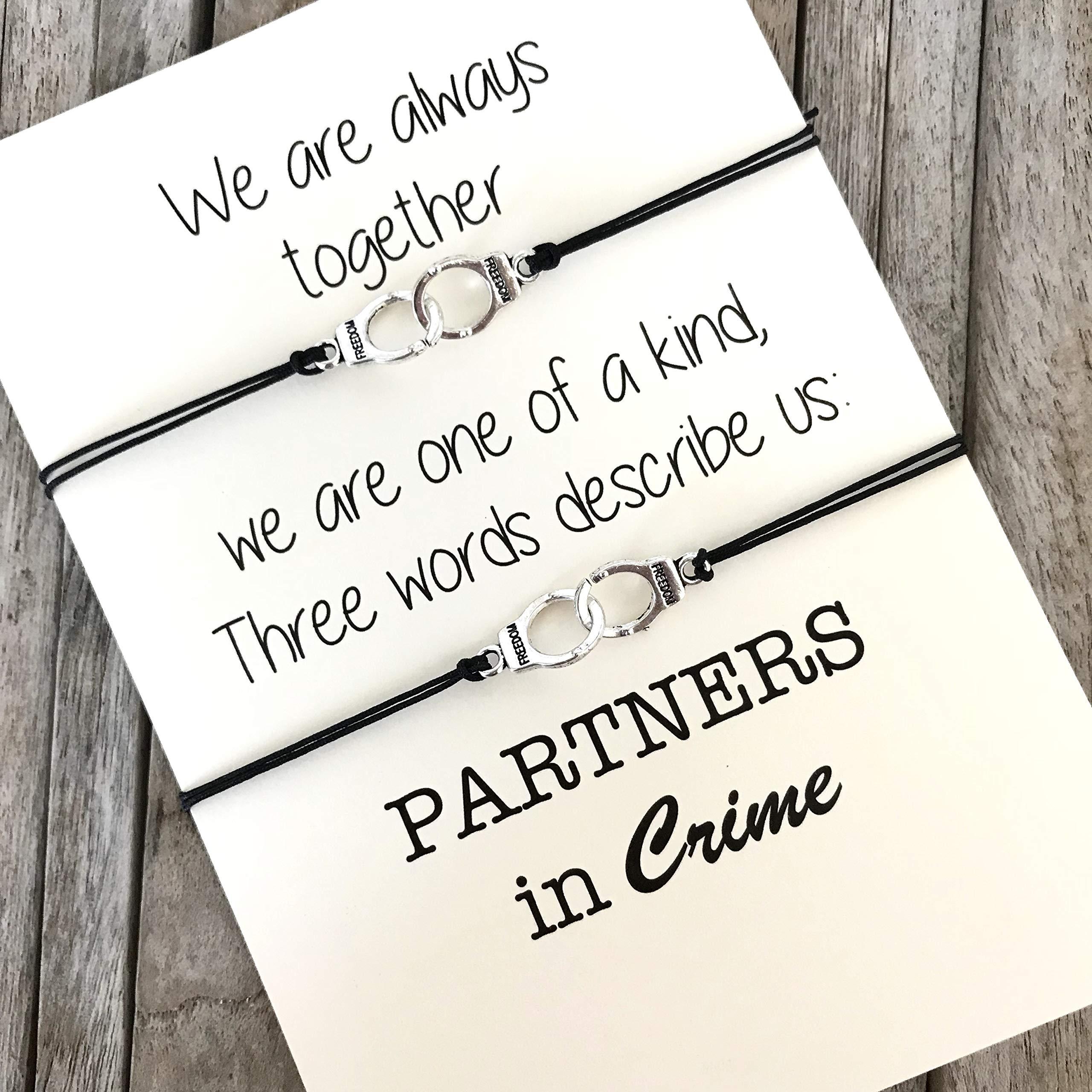 Partners in Crime Bracelets, Best Friend bracelets, Matching bracelets, Friendship bracelets, BFF bracelets, Best friend gifts, BFF bracelet set