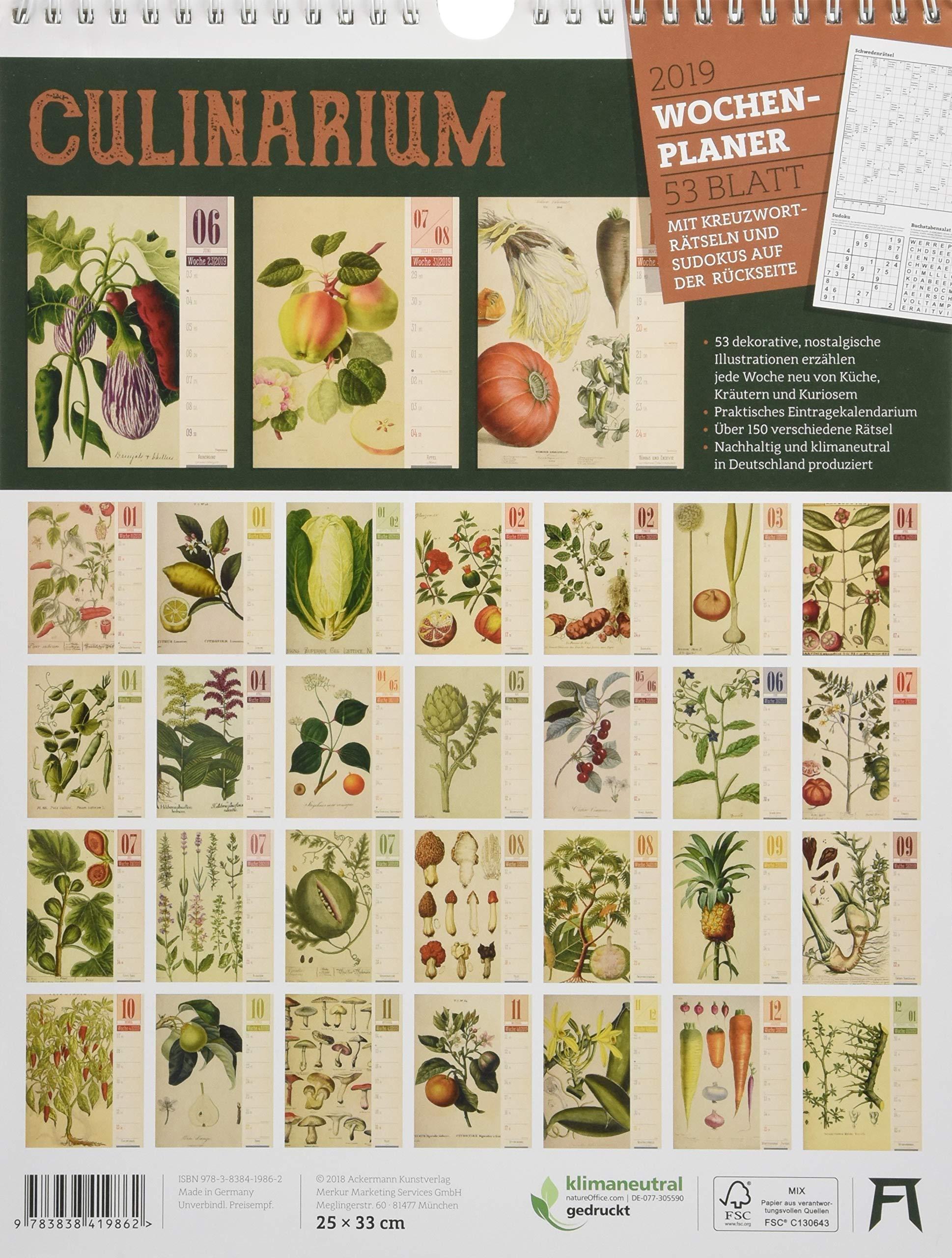 Culinarium Wochenplaner 2019 Wandkalender Im Hochformat 25x33 Cm