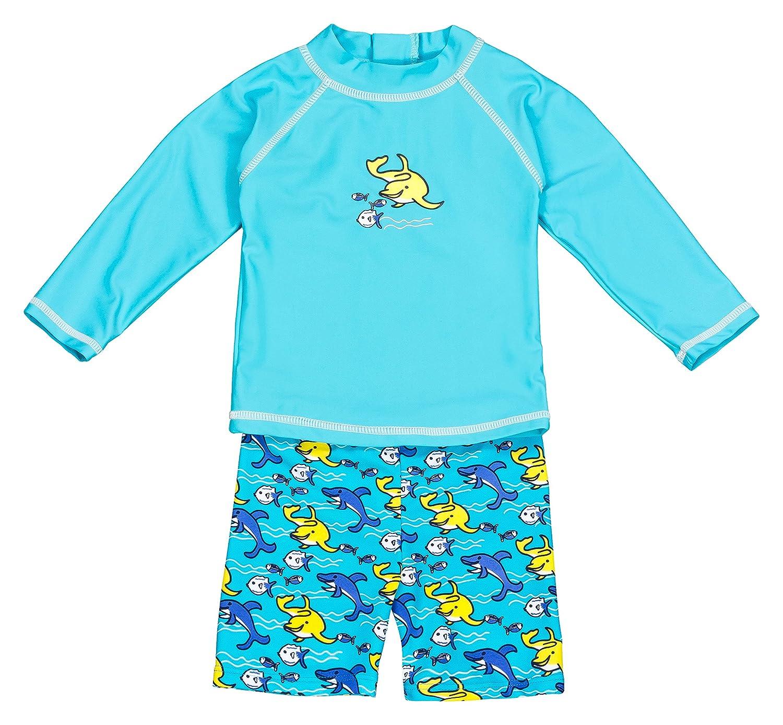 landora®: Baby de/Niños Pequeños de baño ropa 2unidades de manga larga con protección UV 50+ y Oeko-Tex 100Certificación en turquesa