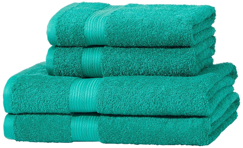 AmazonBasics - Juego de toallas (colores resistentes, 2 toallas de baño y 2 toallas de manos), color verde: Amazon.es: Hogar