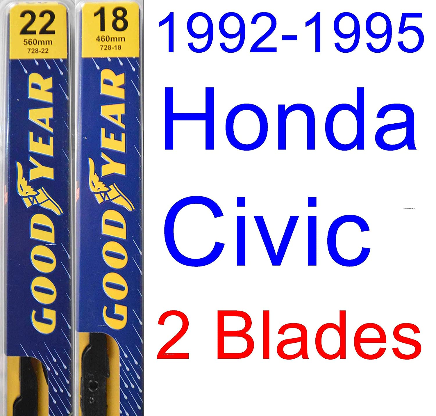 1992 1995 Honda Civic Replacement Wiper Blade Set Kit Windshield Of 2 Blades Goodyear Premium 19931994 Automotive