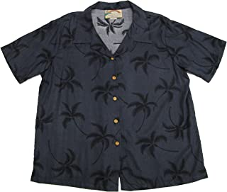 product image for Paradise Found Women's Palm Tree Leaf Aloha Shirt, Black, XS