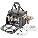 Premium Extra Large Picnic Basket Keeps Food Hot/Cold for 12 Hours Upgraded Lunch Tote for 4 People Picnics Includes…