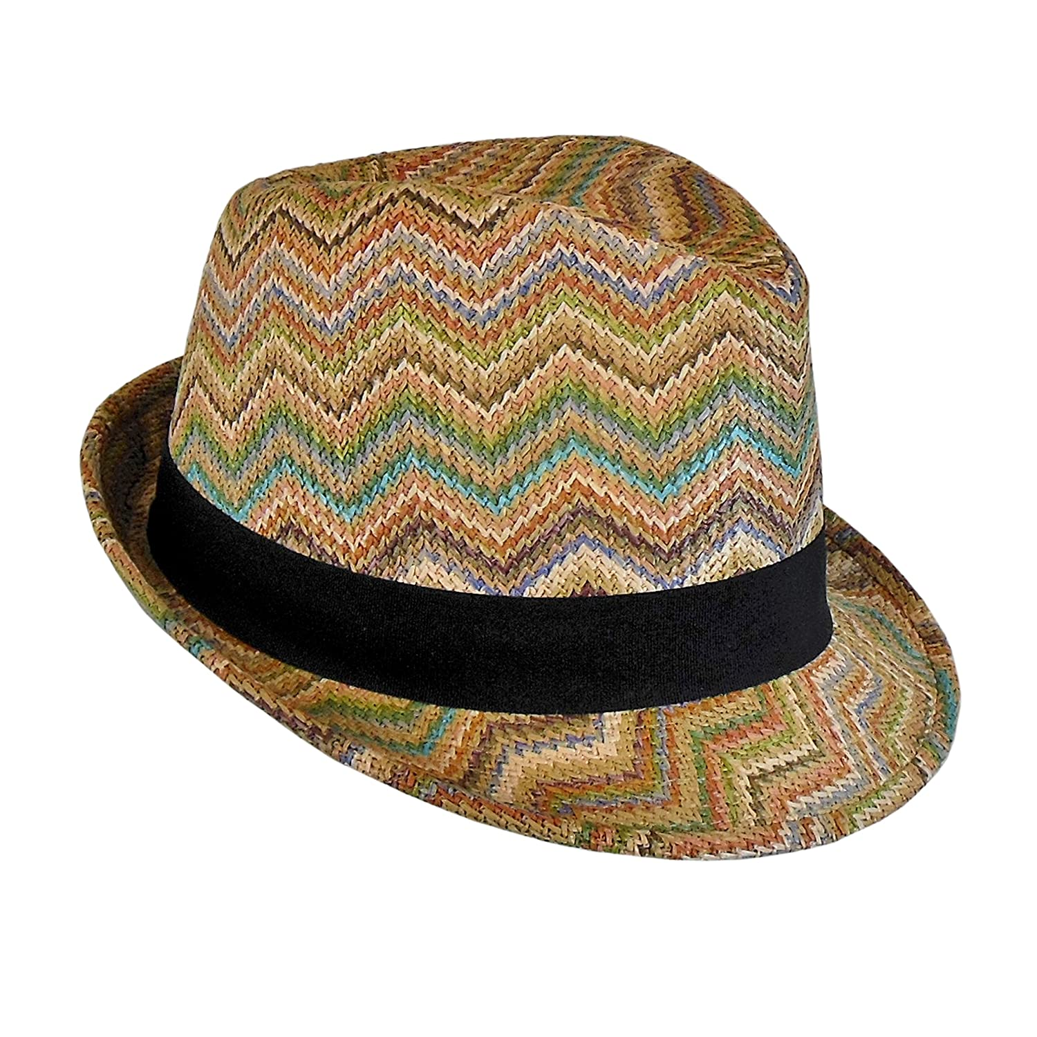 dbe7f085 Bohemian Summer Straw Fedora Hat for Women, Cute Chevron Zig Zag Striped,  One Size at Amazon Women's Clothing store: