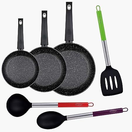 Bergner PK1783 3 Piezas Ø20/Ø24/Ø28 sartenes de Aluminio Forjado, inducción, en Negro + Set 3pc Utensilios de Cocina en Nylon: Amazon.es: Hogar