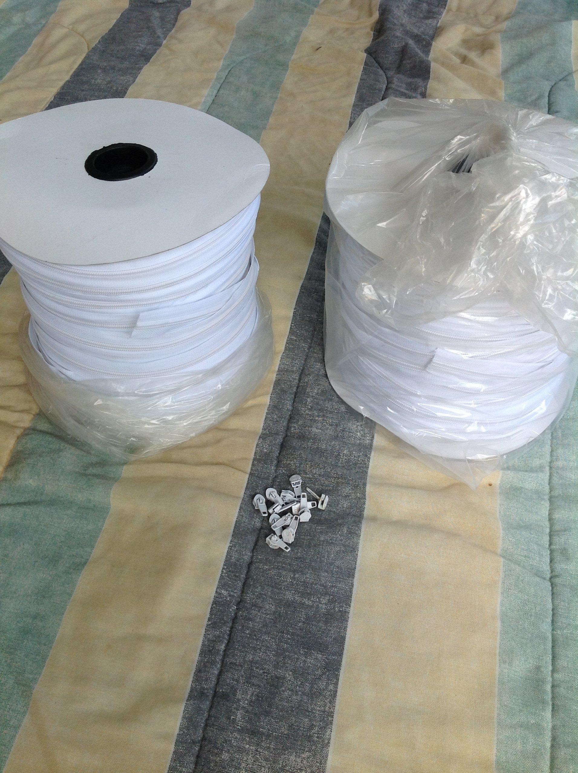 Zipper #5 White 200 Yards + 200 Slides by Zip