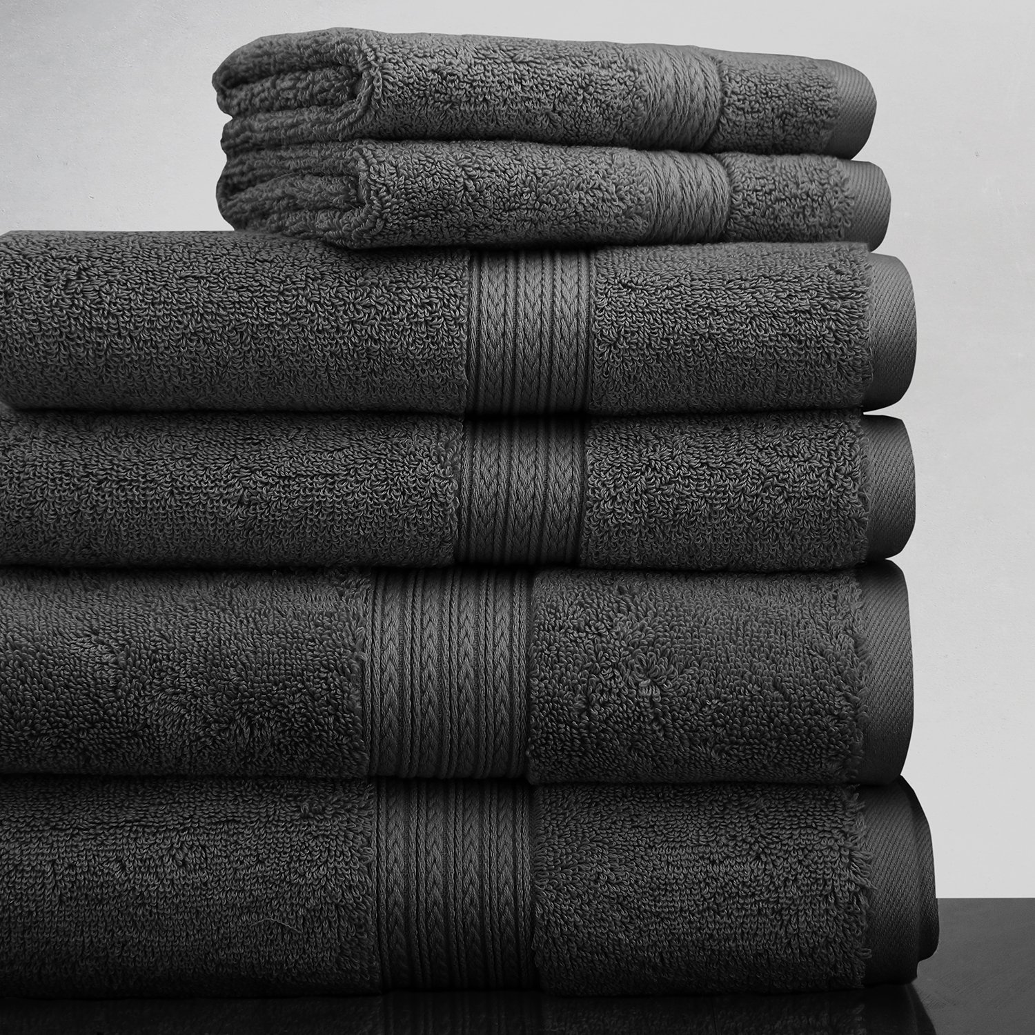 Luxor Linens New Arrival Bliss Collection Egyptian Cotton Classic 6-Piece Towel Set -Charcoal