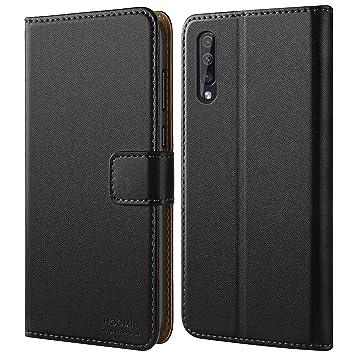 HOOMIL Funda para Samsung A50, Funda para Galaxy A50, Fundas de Cuero PU Premium Carcasa para Samsung Galaxy A50 Smartphone, Negro