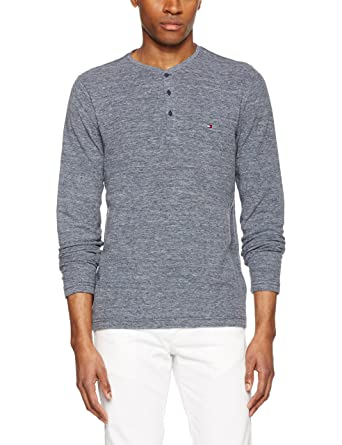 75bc764e Tommy Hilfiger Men's MW0MW02915 Regular Fit Button Front Long Sleeve  Sweatshirt - Blue - Small