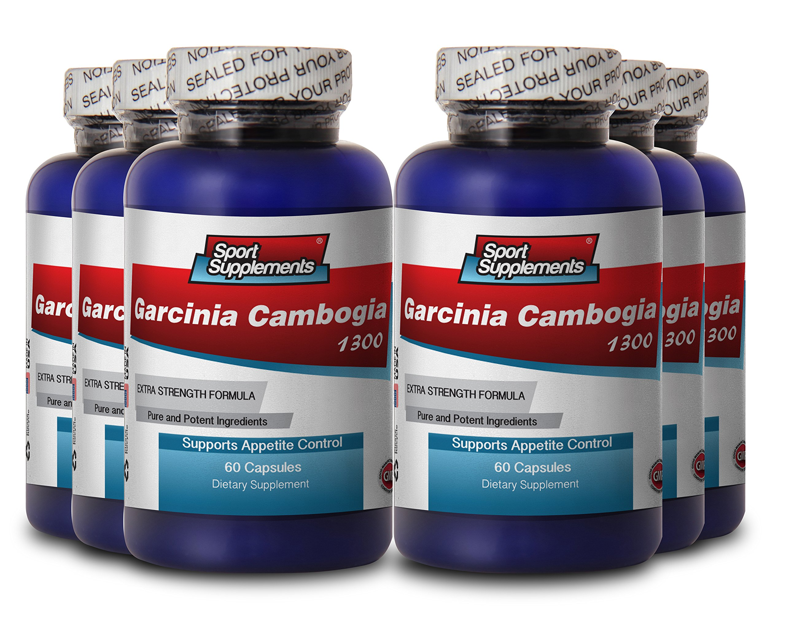 PURE GARCINIA CAMBOGIA PREMIUM EXTRACT 1300 - Fat loss supplements - 6 Bottles 360 Capsules