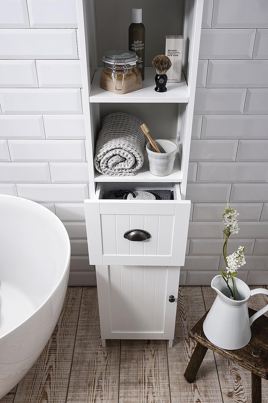 Stow Tallboy Bathroom Cabinet Hallway Storage Unit in White Noa ...