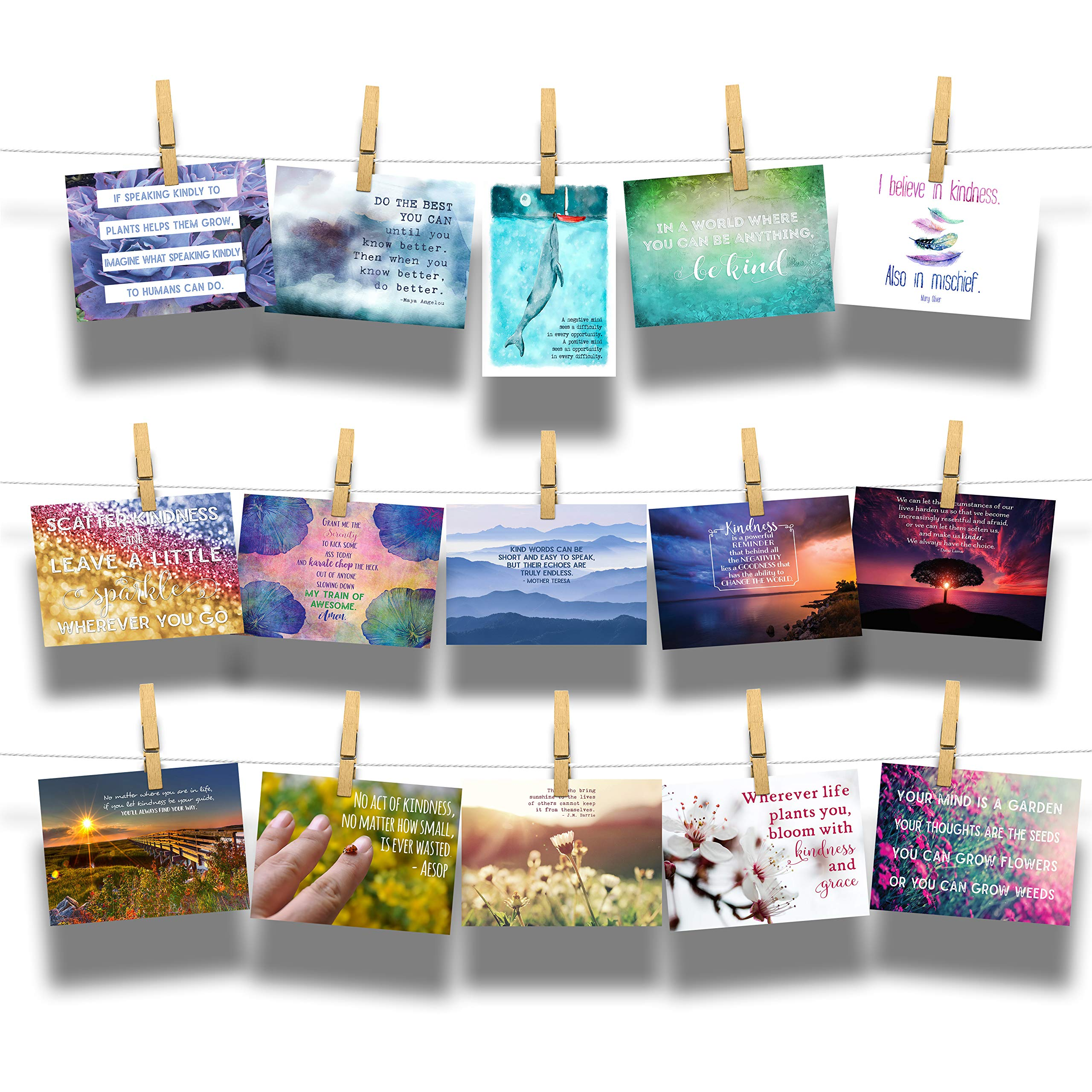 Kind Cards Postcard 15-Pack Assortment - Collection of Encouraging Kindness Inspirational Postcards by Novelty Treats