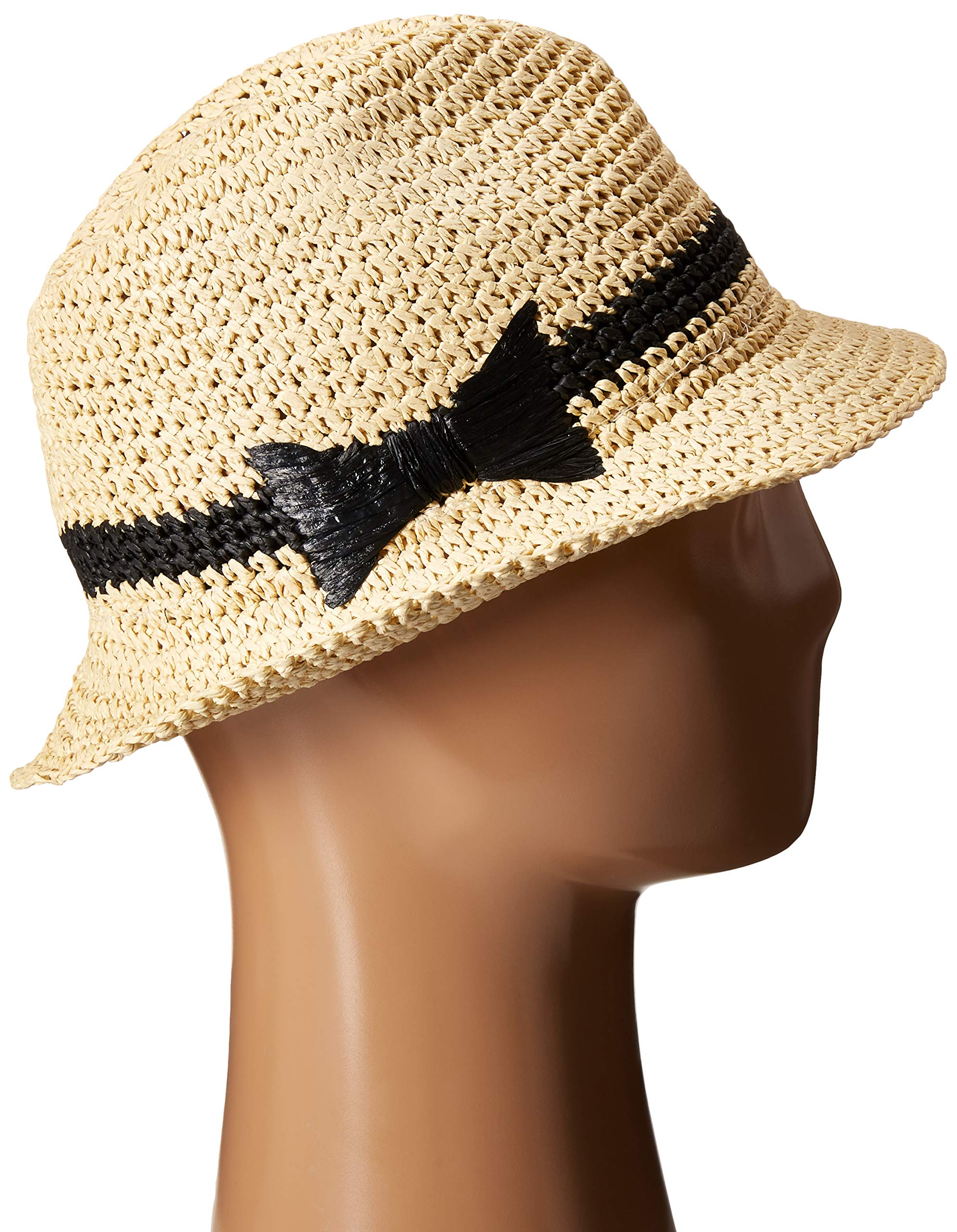 Kate Spade New York Women's Crochet Packable Fedora Natural/Black One Size by Kate Spade New York (Image #4)