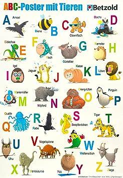 Betzold 755732 Abc Poster Mit Tieren Alphabet Buchstaben Lernen Kinder Amazon De Spielzeug