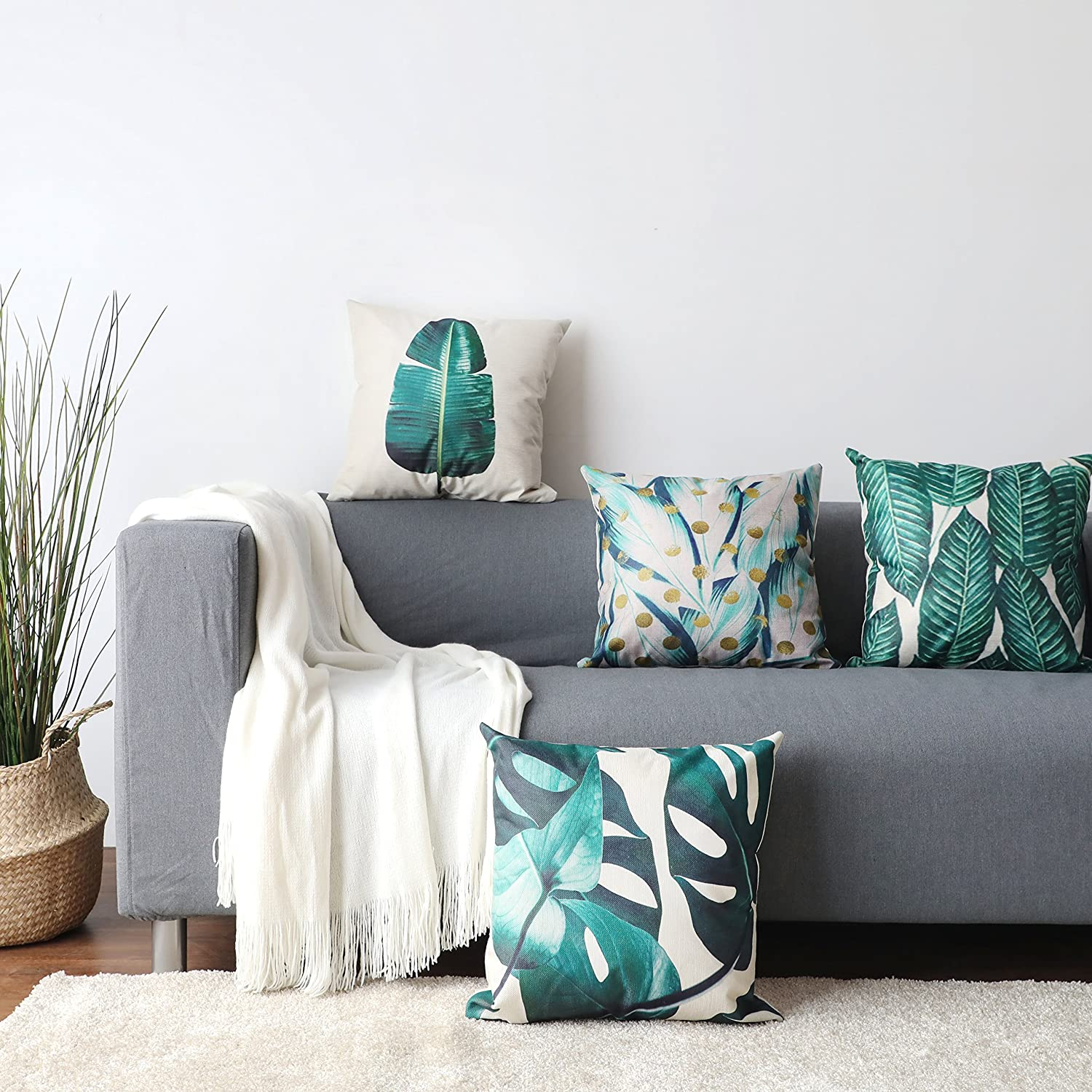 Green ALPHA HOME Decorative Throw Pillow Covers Set of 4 Cushion Covers 18 x 18 inch