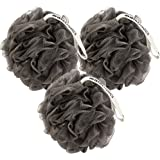 MainBasics Bath Shower Loofah Sponge Pouf Body Scrubber Exfoliator with Natural Charcoal (Set of 3)