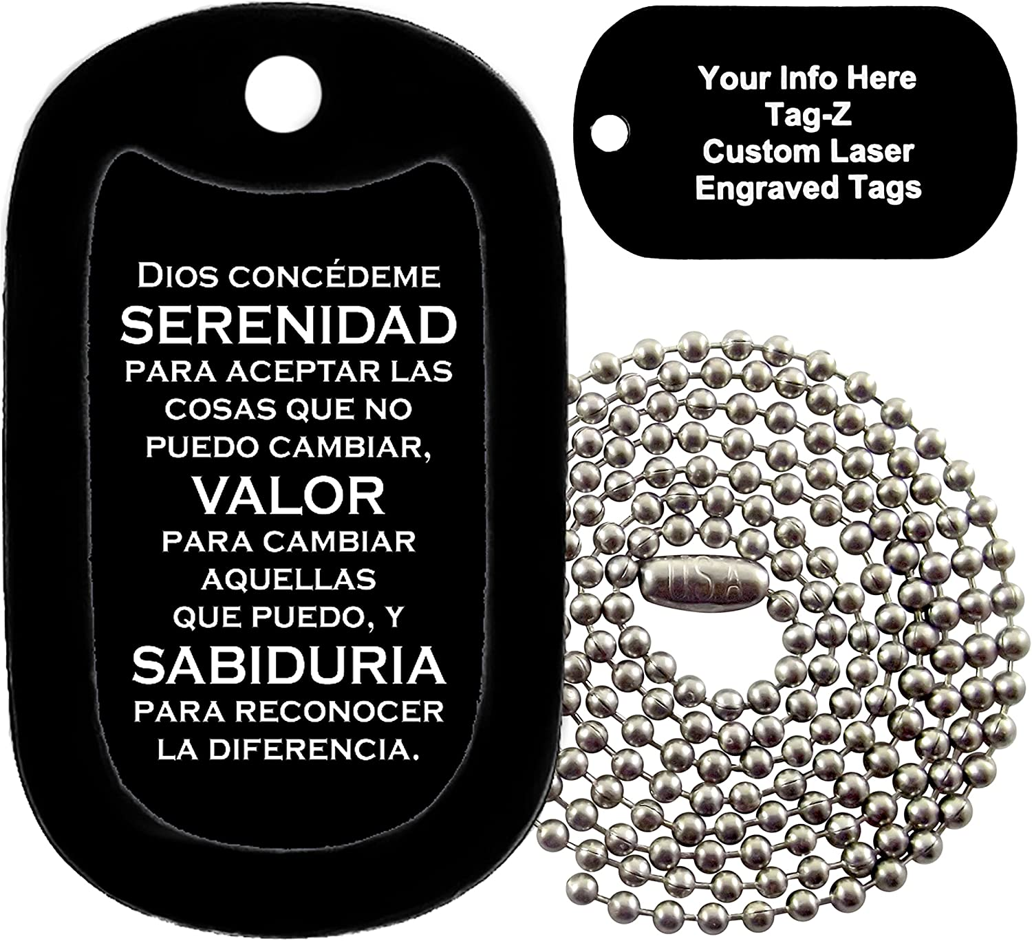 SERENITY PRAYER TAG  with a Dog Tag Silencer Military Dog Tag Necklace