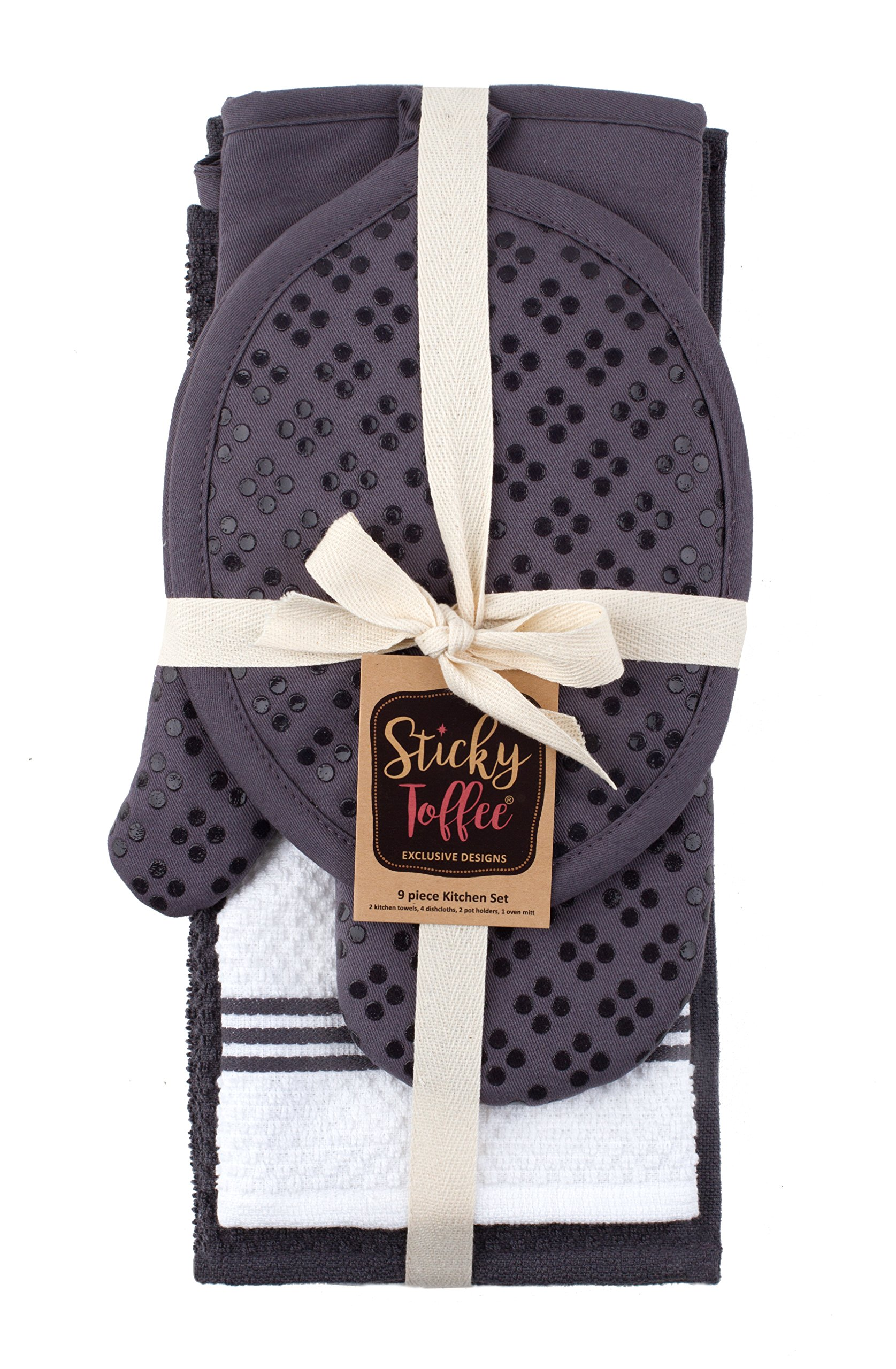 Sticky Toffee Silicone Printed Oven Mitt & Pot Holder, Cotton Terry Kitchen Dish Towel & Dishcloth, Gray, 9 Piece Set by Sticky Toffee (Image #8)