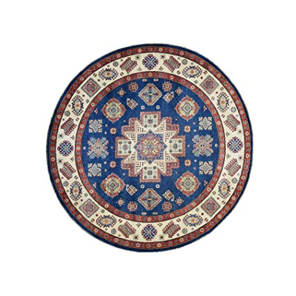 Hand-Knotted Pure Wool Navy Blue Special Kazak Round Rug (79