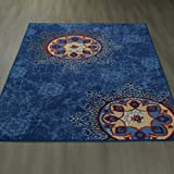 "Ottomanson Studio Collection Medallion Design X5'0"" Area Rug, 3'3"" x 5'0"", Blue"