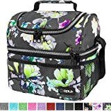 Insulated Dual Compartment Lunch Bag for Women, Ladies | Double Deck Reusable Lunch Box Cooler with Shoulder Strap…