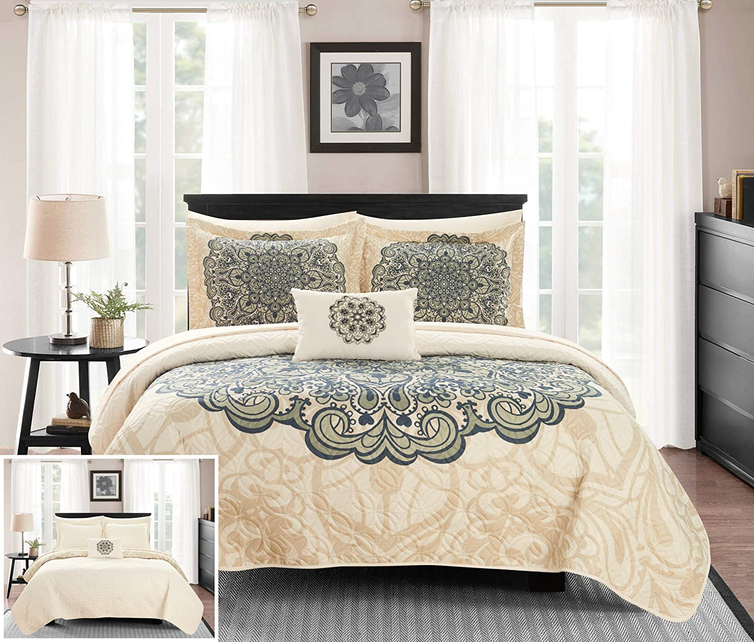 Chic Home Raina 4 Piece Reversible Quilt Coverlet Set Large Scale Boho Inspired Medallion Paisley Print Design Bedding - Decorative Pillow Shams Included, Queen, Beige