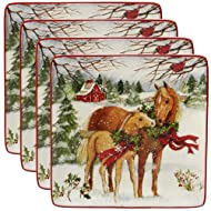 """Certified International 22800SET4 Christmas on The Farm 10.5"""" Dinner Plate, Set of 4, One Size, Mulicolored"""