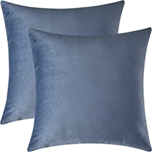 Mixhug Set of 2 Cozy Velvet Square Decorative Throw Pillow Covers for Couch and Bed, Steel Blue, 18 x 18 Inches