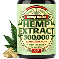 Hemp Oil Capsules 300,000 - Best for Anxiety & Stress Relief - Hemp Seed Oil Capsules Made in USA - 100% Natural Anti Inflammatory, Mood & Immune Support - Good for Skin, Hair & Nails - Omega 3
