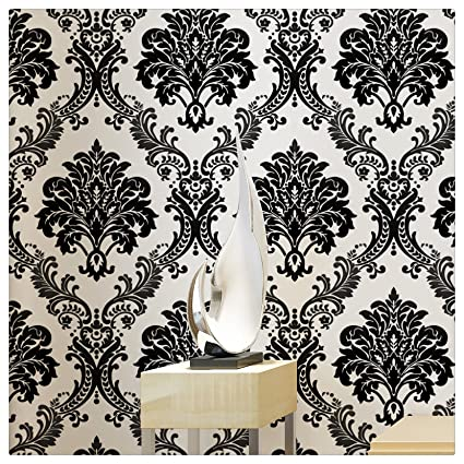 Haokhome 1074 Damask Flocking Textured Wallpaper Roll Black White Modern Home Room Decoration 20 8 X 393 7