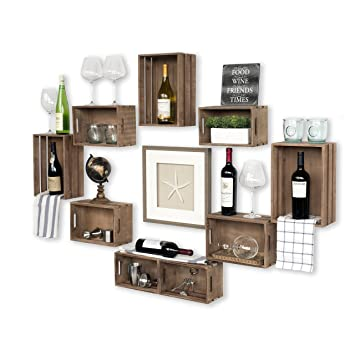 Wallniture Rustic Wine Rack Storage Baskets Wall Mount Wooden Crates Walnut Set Of 9