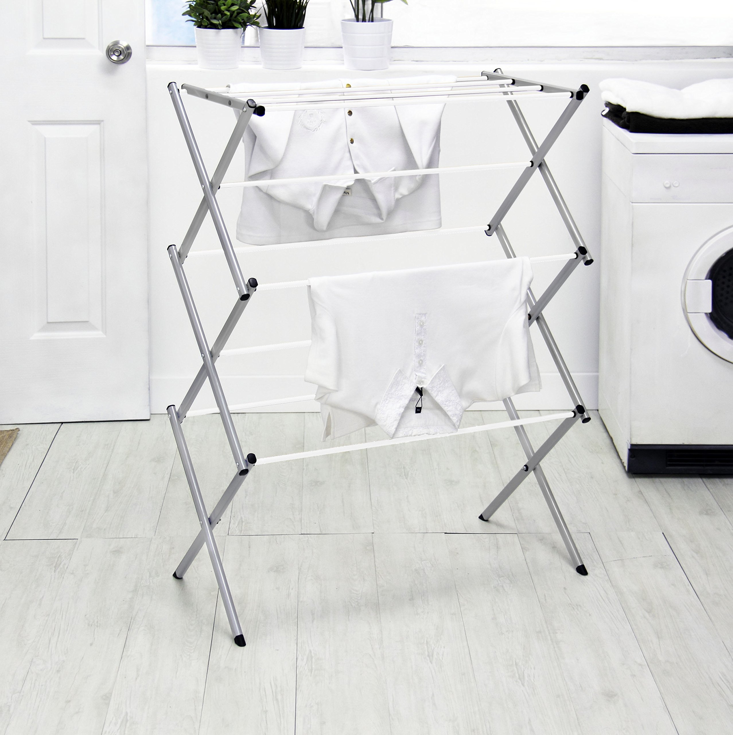 Vanderbilt Home Drying Rack in Silver/White Spindles - (41'' High)