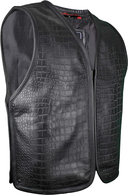 MDM Motorrad Leder Kutte in Schwarz oder Wei/ß aus echtem Leder XL, Schwarz