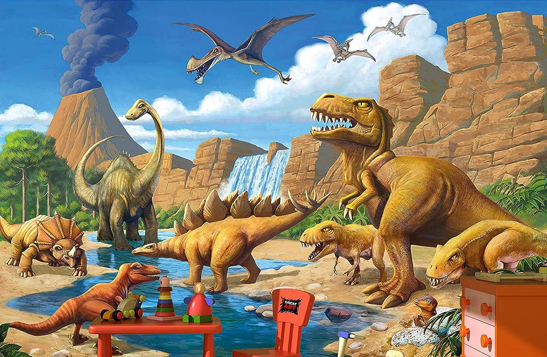 Amazon.com: GREAT ART Wallpaper Children Room Adventure Dinosaur U2013 Wall  Picture Decoration Dino World Comic Style Jungle Paperhanging Poster (132.3  Inch X ...