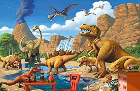 GREAT ART Wallpaper Children Room Adventure Dinosaur - Wall Picture Decoration Dino World Comic Style Jungle