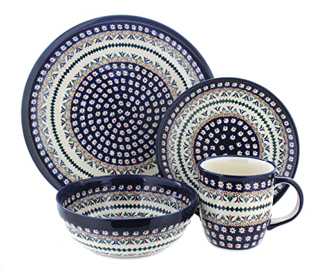 Polish Pottery Daisy 16 Piece Dinner Set  sc 1 st  Amazon.com & Amazon.com: Polish Pottery Daisy 16 Piece Dinner Set: Dinnerware ...