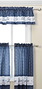 """Achim Home Furnishings Achim Home Imports Live, Love, Laugh Window Curtain Tier Pair and Valance Set, Pair & Valance 58"""" x 36"""", Navy"""