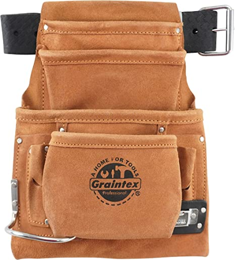 2 10 POCKET HEAVY DUTY TAN SUEDE LEATHER NAIL AND TOOL POUCH WITH BELT