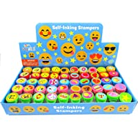 Tiny Mills 50 Pcs Emoji Assorted Stamps for Kids Self-Ink Stamps (50 DIFFERENT Designs) for Emoji Themed Birthday Party…