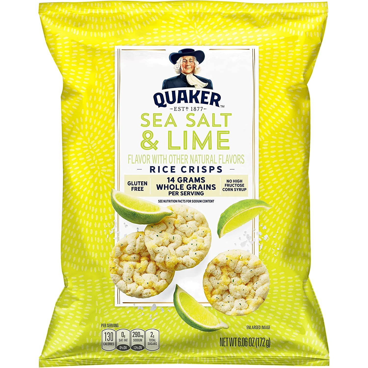 Quaker Rice Crisps, Sea Salt & Lime, 6.06 oz Bag (Packaging May Vary)