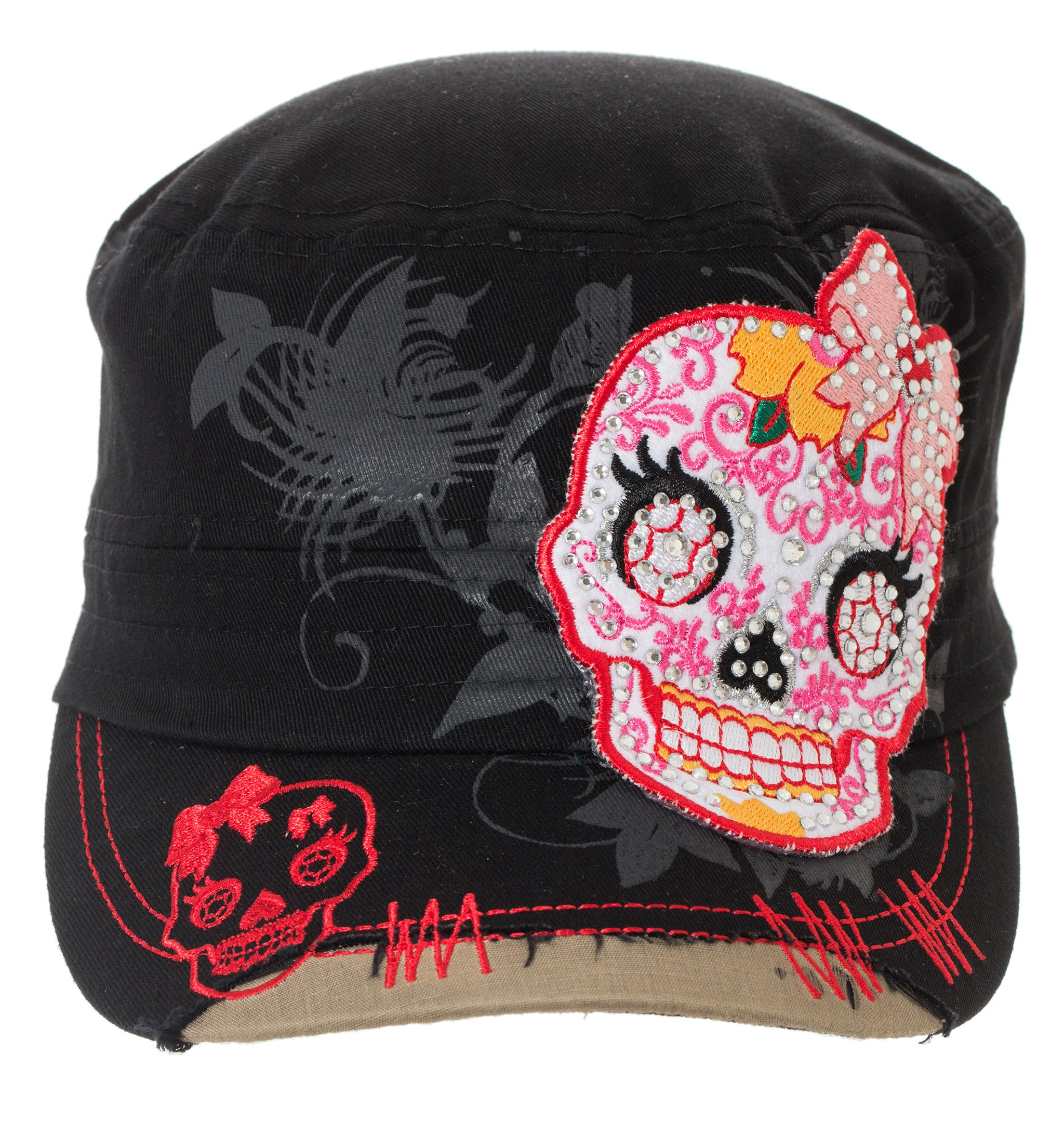 Artisan Owl Sugar Skull Military Style Black Cap with Buckle Closure (Black)