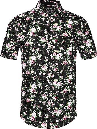 uxcell Camisa Hawaiana De Playa Estampado Floral con Botones Manga Corta Camisa De Verano para Hombres