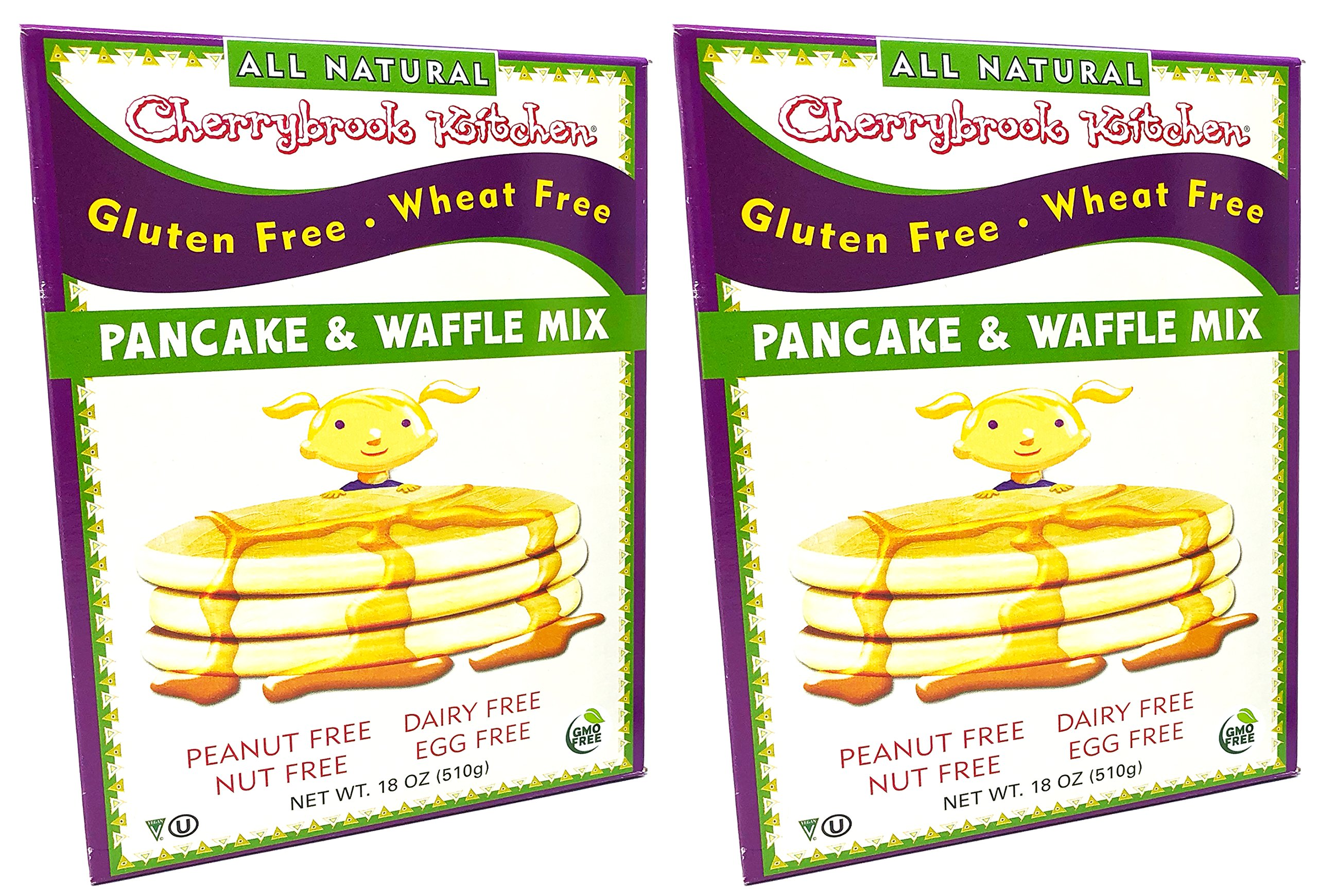 Cherrybrook Kitchen All Natural Gluten Free Wheat Free Pancake and Waffle Mix 18 Ounce (Pack of 2)
